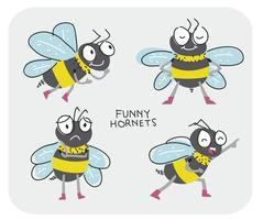 Lustige Hornets-Zeichentrickfilm-Figur-Pose-Vektor-Illustration