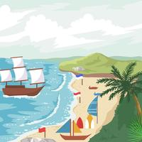 Cove And Beach View Vector