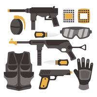 Paint Ball and Airsoft Equipment Vector
