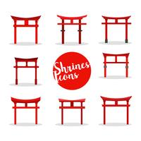 Shrine Icons Vector