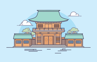 Japanse heiligdom illustratie