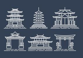 Shrine Icons Set vector