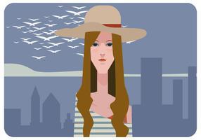 Flicka med hatt vektor