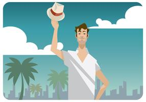 Mann, der seinen Panamahut-Vektor anhebt