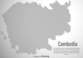 Vektor karta av Kambodja i halvtonen