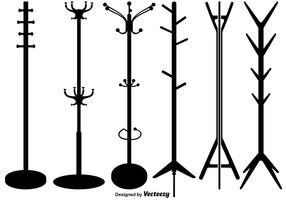 Vector set van coat stand silhouetten