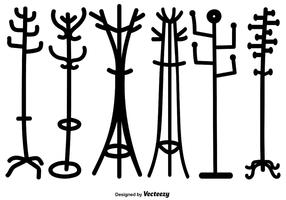 Vector Set Of Cartoon Style Coat Stand Silhouettes