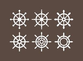 iconos de vector de rueda de barcos
