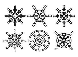 Ícones do vetor da roda dos navios