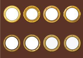 Gold Porthole or Ship Window on Wood Background Vectors