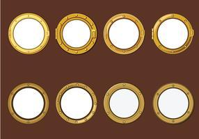 Guldporthål eller fartygsfönster på träbakgrundsvektorer
