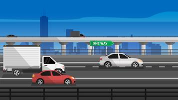 Highway Road mit Auto und LKW-Vektor-Illustration