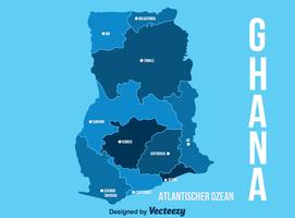 Blue Ghana Map Vector