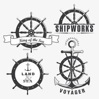 Ship Wheel Badge Set Vector