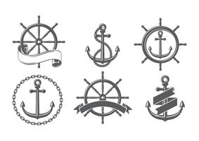 Ship Wheel Set Free Vectors
