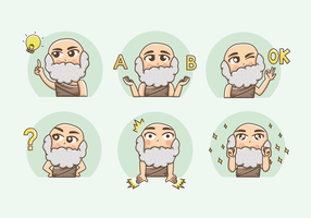 Free Socrates Cartoon Sticker Vector