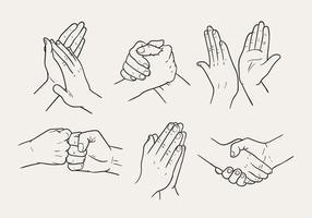 Vetores de gestos de mão desenhados à mão