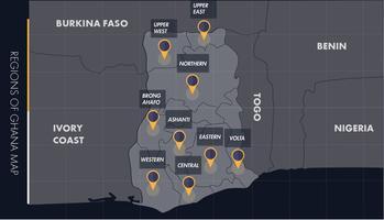 Carte de vecteur de Ghana