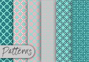 Conjunto de patrones geométricos azul suave