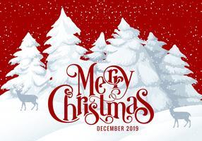 Merry Christmas 2019 Card Illustration