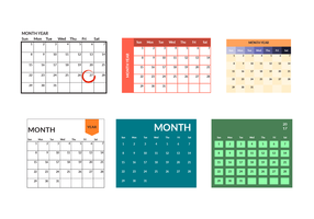 Printable Monthly Calendar Template Vector