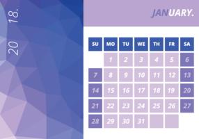 Calendário mensal janeiro 2018