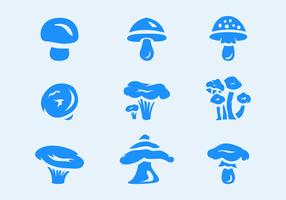 Six Mushrooms Vector