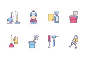Handyman and Caretaker Icons vector