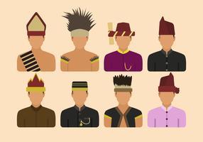 Flat Indonesia Tribe Vectors