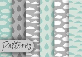 Rainy Cloud Pattern Set  vector