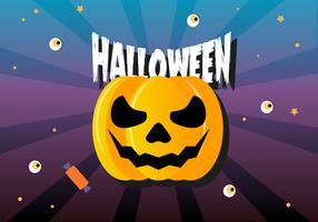 Gratis Flat Halloween Pumpkin Vector Illustration