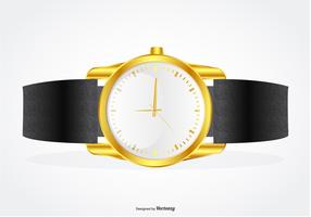 Highly Detailed Wrist Band with Gold Watch Illustration vector