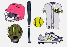Softball Stuff Starter Pack dessinés à la main Vector Illustration