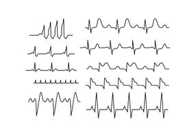 Free Heart Rhythm Collection Line Vector