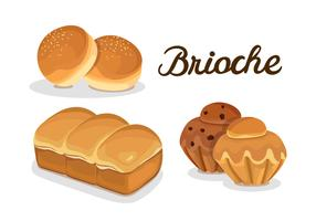 French Brioche Bread Bun And Muffin vector
