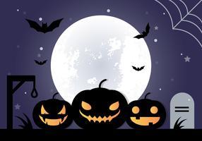 Kostenloses, flaches Design Vektor Halloween Hintergrund