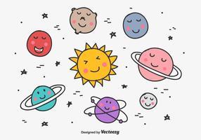 Doodle Planets Vector Set