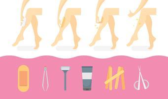 Proceso de cera de la pierna y herramientas ilustración plana del vector