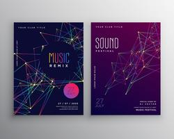 abstract digital lines music flyer poster template design