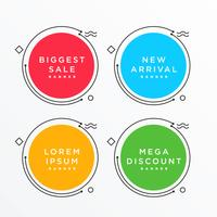 Banners circulares configurados em estilo memphis com espaço de texto