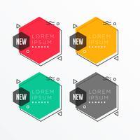 geometrisk hexagonal form banner i memphis stil