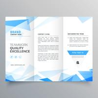 abstract blue shape trifold business brochure design