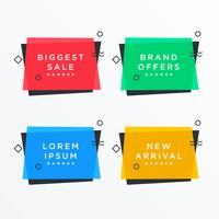 banner in vendita stile memphis con elementi di memphis