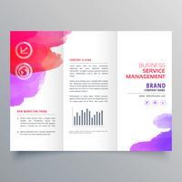 modèle de conception de brochure d'affaires à trois volets waterclor abstraite