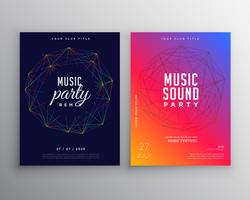 music party flyer template design with digital lines mesh