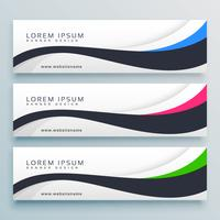 clean wavy three header banner design template