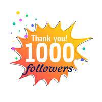 1000 följare framgång tack meddelandet för sociala nätverk