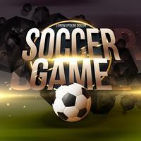 Fundo de jogo de futebol com futebol e efeito de luz