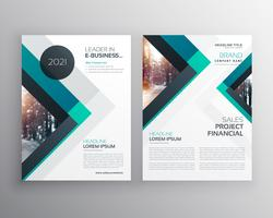 abstract blue business brochure flyer design template with trian