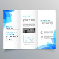 trifold brochure template design with abstract blue shapes